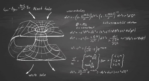 Black hole. Hand drawn formulas and graph on chalkboard. Crédits ; Babich Alexander, Shutterstock