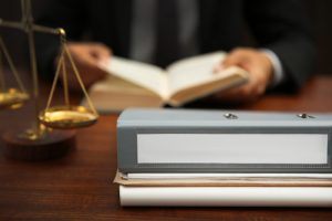 Folder on lawyer table, closeup, Africa Studio, Shutterstock