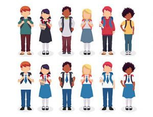 Diverse set of children with backpacks in school uniform and casual clothes. Crédits ; mei yanotai, Shuterrstock