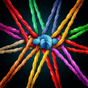 Holding together group as different ropes connected . Crédits : Lightspring, Shutterstock