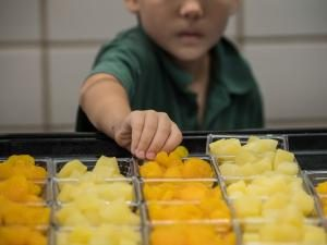 Child selecting fruit at a school lunch. USDA Photo by Lance Cheung.
