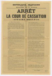 Arrêt de la cour de cassation, affiché dans toutes les communes de France à partir du 5 juin 1899. Image Domaine public