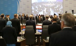 Before the start of the G20 summit. A minute of silence to honour the memory of the victims of the terrorist attacks in Paris. 15 November 2015. Crédits photo: Russian Presidential Press and Information Office