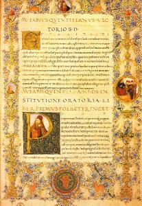 Quintilian, Institutio oratoria in ms. Florence, Biblioteca Medicea Laurenziana, Plut. 46.12, fol. 1r. Crédits : Domaine public