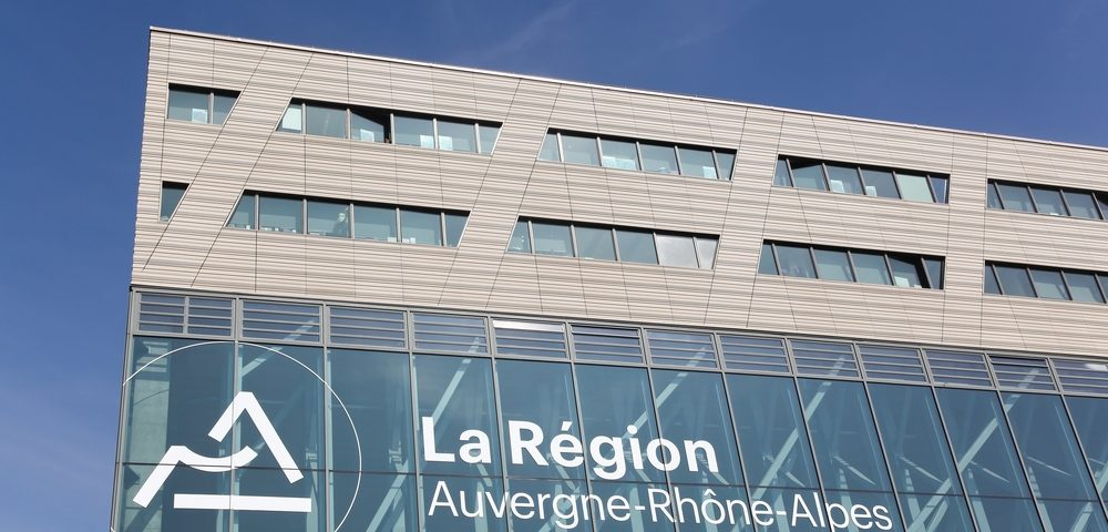 Lyon, France - March 15, 2017: Auvergne-Rhone-Alpes building in Lyon. Auvergne-Rhone-Alpes is a region of France created by the territorial reform of French Regions in 2014 par ricochet64, Shutterstock