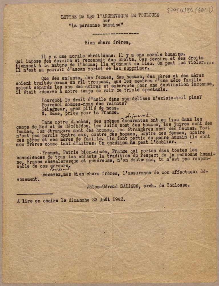 """Lettre pastorale de l'archevêque de Toulouse sur """"la personne humaine""""© Archives départementales de la Haute-Garonne, Droits réservés"""