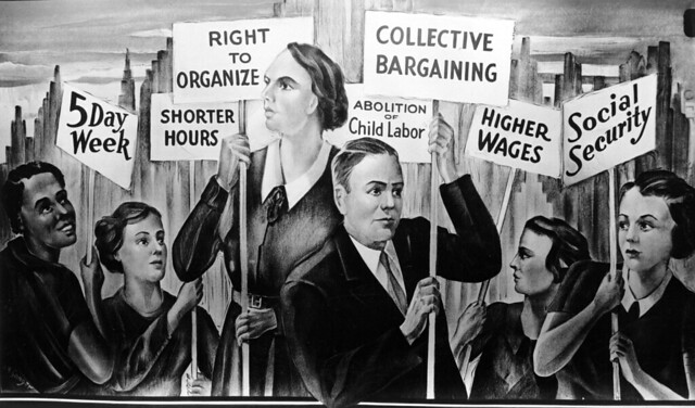 Mural of workers holding placards. Kheel Center. Collection: International Ladies Garment Workers Union Photographs (1885-1985). CC BY 2.0