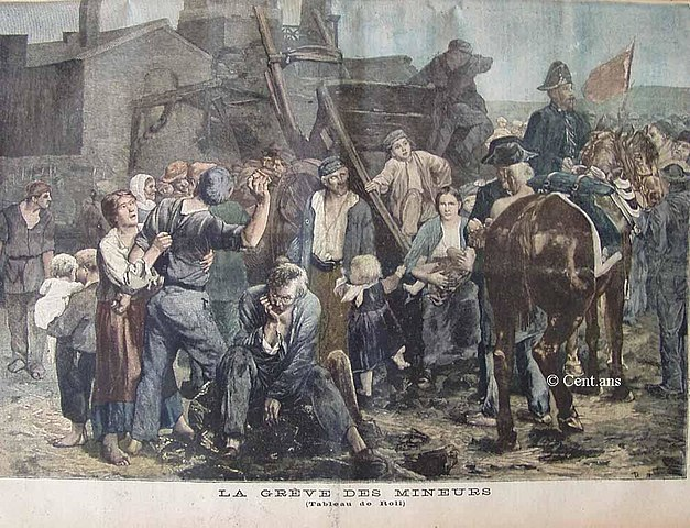 Illustration of the 1892 miner's strike at the Compagnie minière de Carmaux, by Alfred Philippe Roll [Public domain]