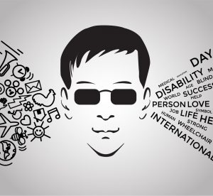 silhouette face of blind man with black glasses with graphic symbols to him right side and words to him left side. Crédit image : Gerasimov Sergei, Shutterstock
