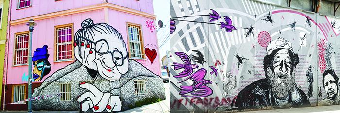 Street art. Droite : à Bogota. Gauche : à Valparaíso. ©Shutterstock