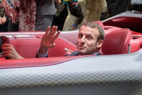 Emmanuel Macron inside the concept car Trezor (Renault) at the Paris Motor Show 2016. © Frederic Legrand - COMEO/Shutterstock