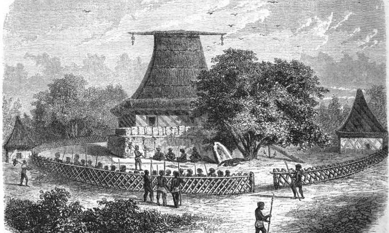 Illustration de l'ouvrage de Alexandre de Bar - Le Tour du Monde (1860) représentant une maison des esprits et une scène de cannibalisme.