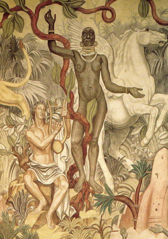Louis Bouquet, Apollon et sa muse négresse, Palais de la Porte Dorée, ancien musée des Colonies, 1931.