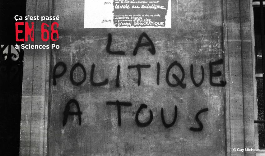 Slogan peint et affiche de l'Union des étudiants communistes