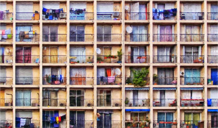 Détail d'une façade d'immeuble contemporain (peinture)