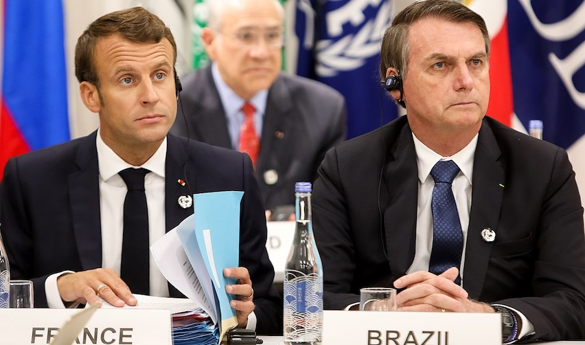 Emmanuel Macron et Jair Bolsonaro à Osaka (Japon) en juin 2019