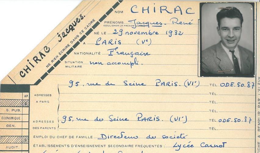 Dossier d'étudiant de Jacques Chirac (promotion 1954)