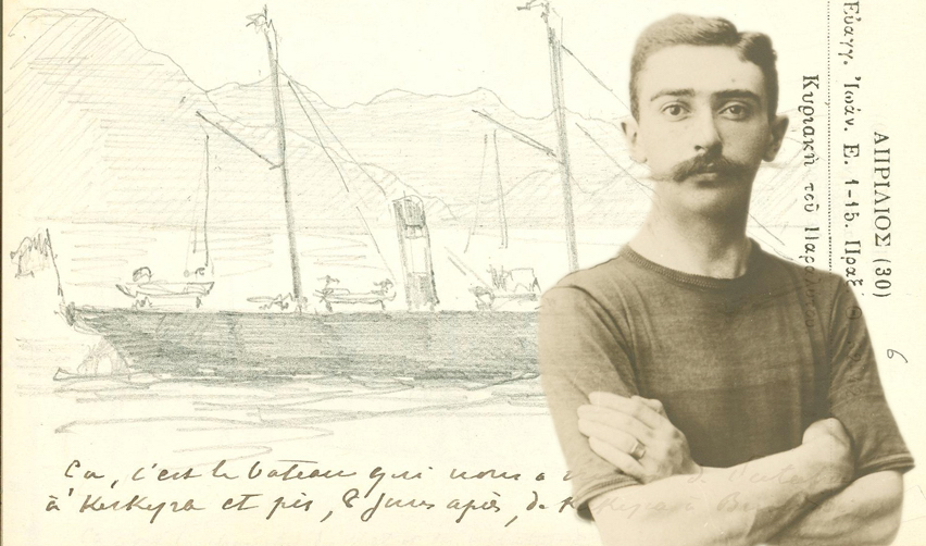 Carnet de croquis de Pierre de Coubertin et portrait