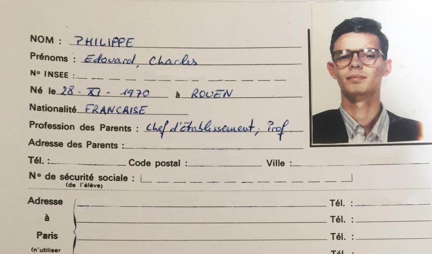Le dossier étudiant d'Édouard Philippe, diplômé de Sciences Po en 1992