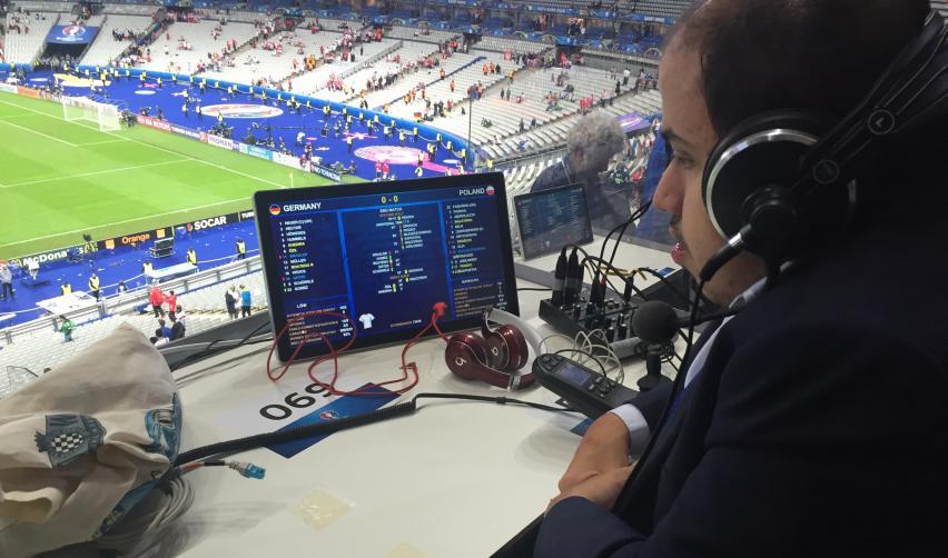 Yanis Bacha dans la tribune de Presse du Stade de France