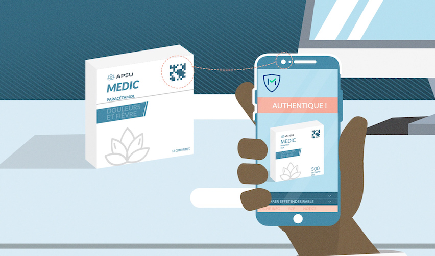 Mobile app scanning a box of medications