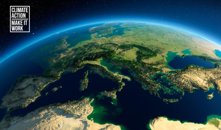View of planet centred on Europe from the sky © Anton Balazh / Shutterstock