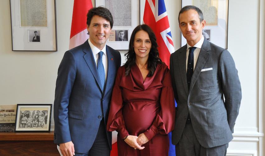 Justin Trudeau, Jessica Ardern et Frédéric Mion le 16 avril 2018 à Sciences Po