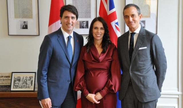 Jacinda Ardern and Justin Trudeau at Sciences Po