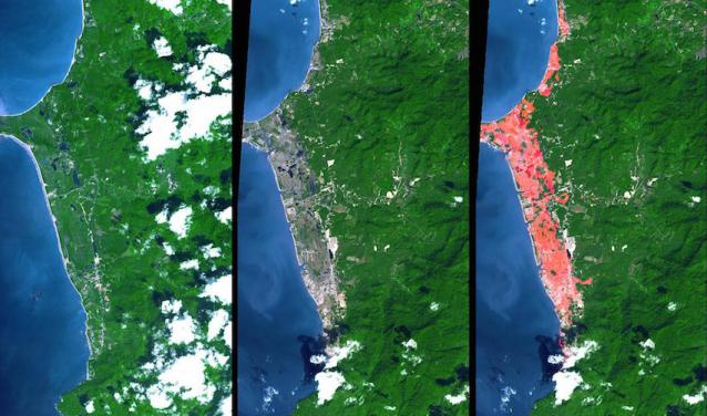 Before and after the 2004 tsunami in Thailand (Khao Lak, North of Phuket)