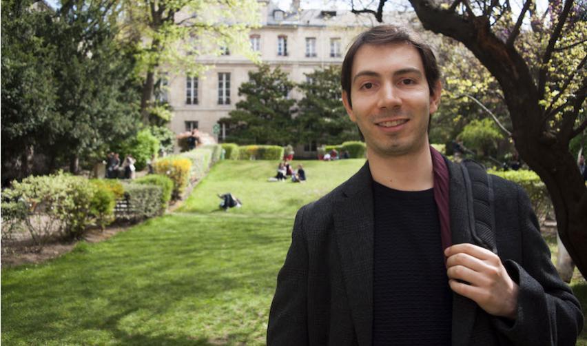 Adan Corral in the Sciences Po garden in Paris