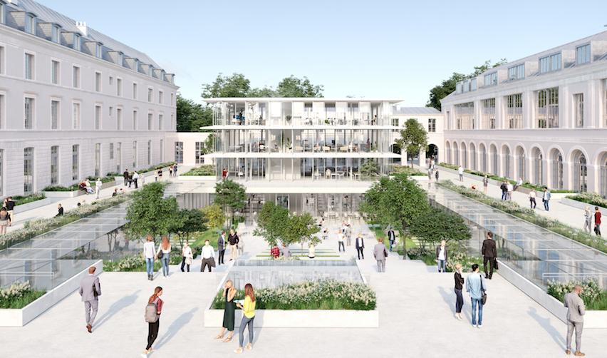 Dans la cour Gribeauval, le Pavillon et le Jardin des savoirs