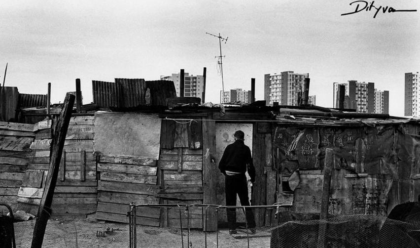 Photo : vue d'un bidonville à la Courneuve, 1967