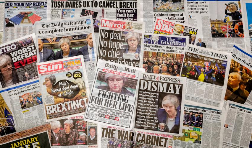 Vue de Unes de journaux britanniques