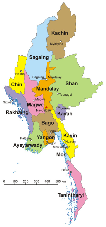 The fourteen administrative divisions of Myanmar by Aotearoa, Under CC Licence