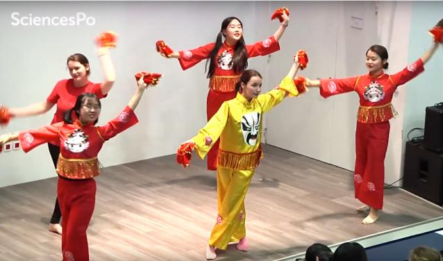 Students performing a Chinese dance