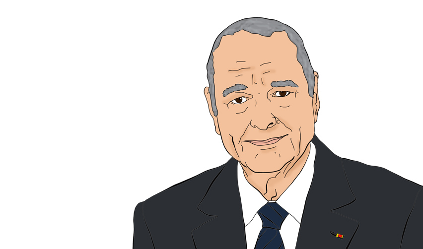 Illustrated portrait of Jacques Chirac