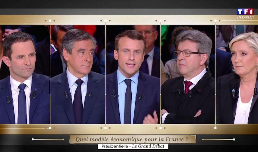 Les candidats lors du débat télévisé du 20 mars 2017 (TF1)