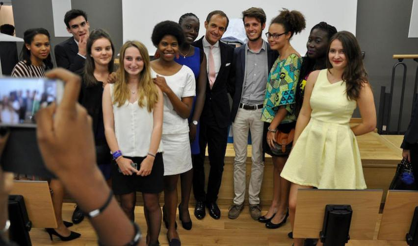 Students in the Europe-Africa programme on their first day at Sciences Po.