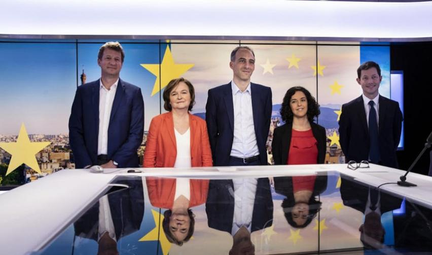 Y. Jadot, N. Loiseau, R. Glucksmann, M. Aubry et F. Bellamy le 9 avril 2019