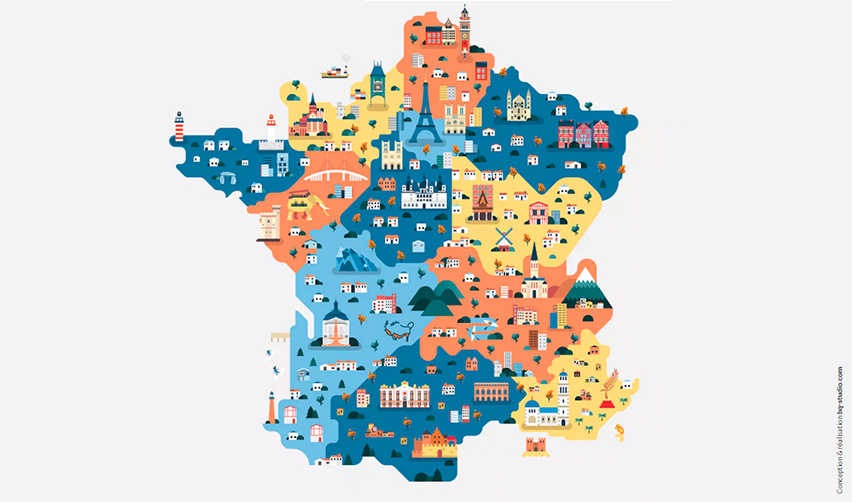 Dessin de la France et de ses régions