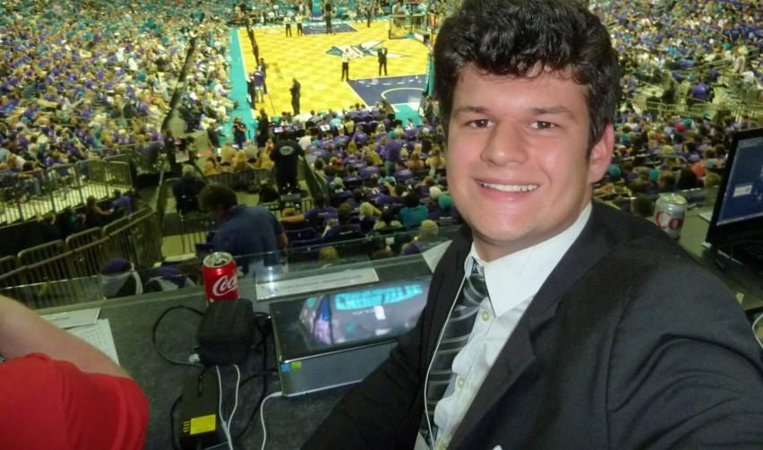 Hugo Givernaud in Charlotte, during game 6 between the Hornets and the Miami Hea