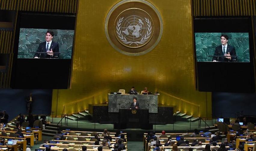 Justin Trudeau aux Nations unies, à New York,  le 21 septembre 2018.
