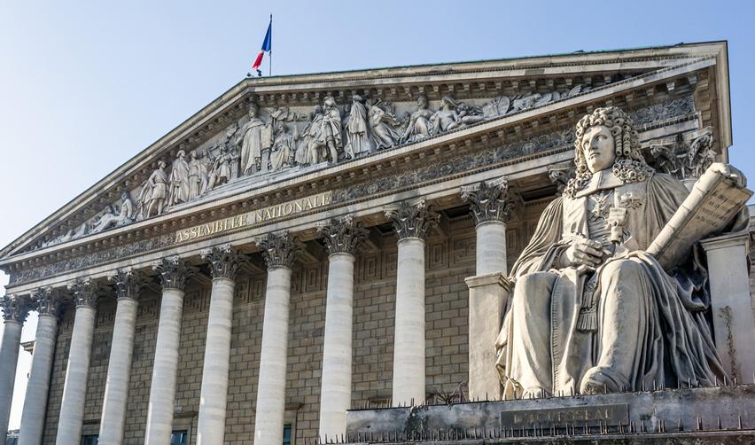 Vue de la façade de l'Assemblée nationale française