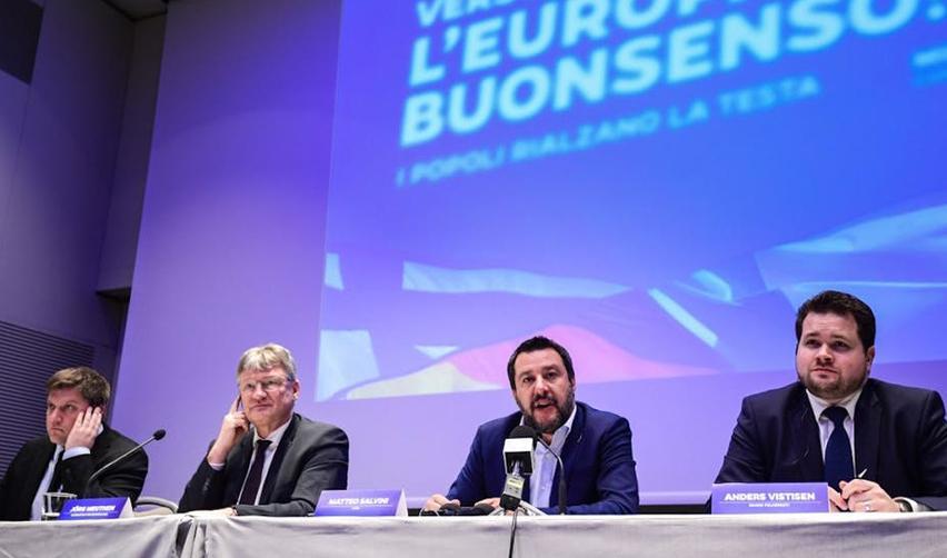 Olli Kotro, Joerg Meuthen, Matteo Salvini, Anders Primdah. Avril 2019, Milan.