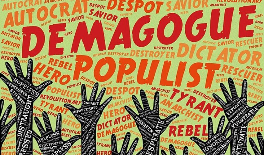 Mains tendues et mots évoquant le populisme