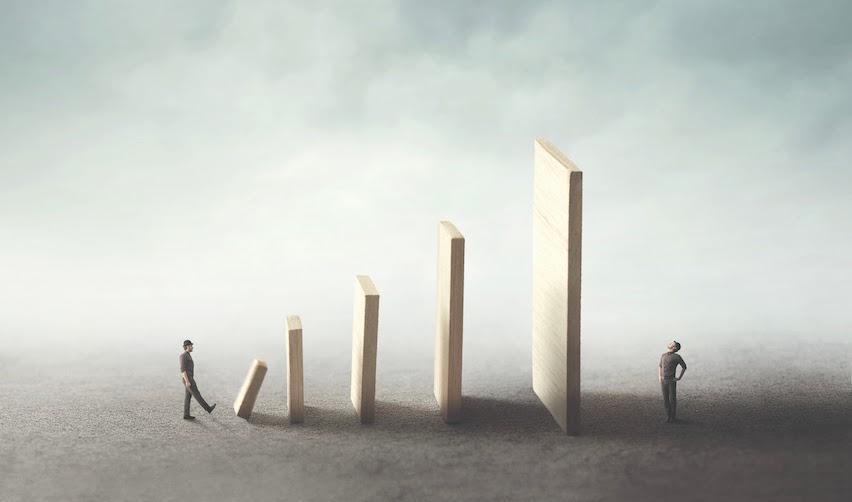 Surrealist illustration conceptualising domino effect