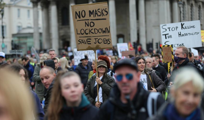 October 2020: Anti lockdown protesters in London