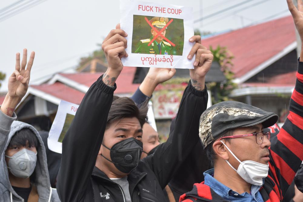 Protesters in Nyaungshwe, Myanmar