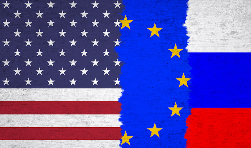 USA, EU and Russia flag illustration