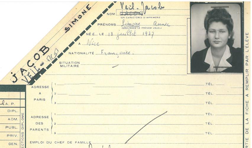 Dossier de scolarité de Simone Veil